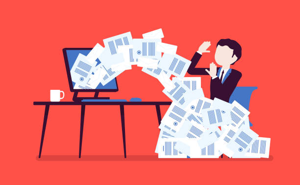 Paper avalanche for businessman Paper avalanche for businessman. Male office worker overloaded with paperwork from computer, heap of business letters and online documents, busy clerk. Vector illustration, faceless characters avalanche stock illustrations