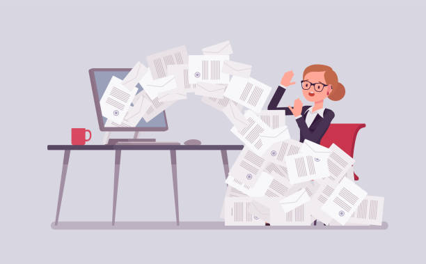 Paper avalanche for businesswoman Paper avalanche for businesswoman. Female office worker overloaded with paperwork from computer, heap of business letters and online documents, busy clerk in routine, bureaucracy. Vector illustration avalanche stock illustrations