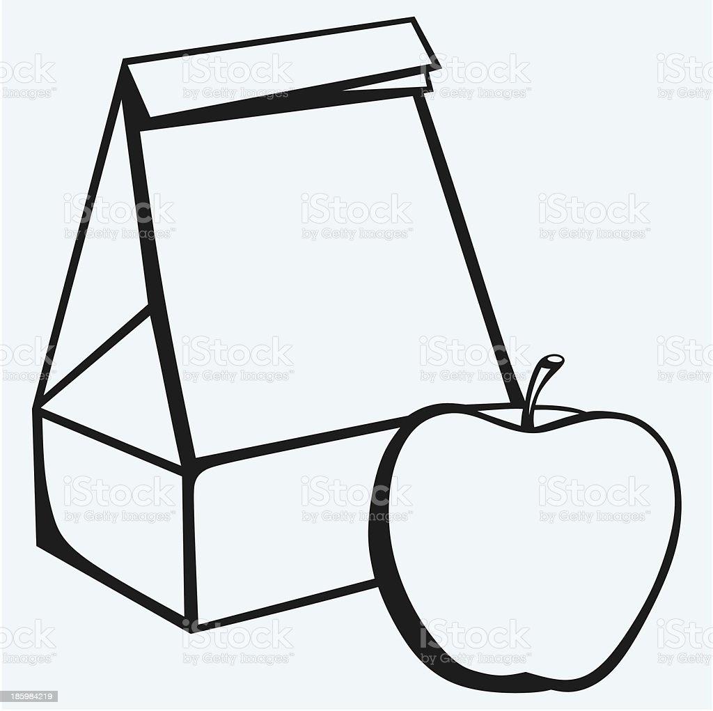 Paper bag and apple vector art illustration