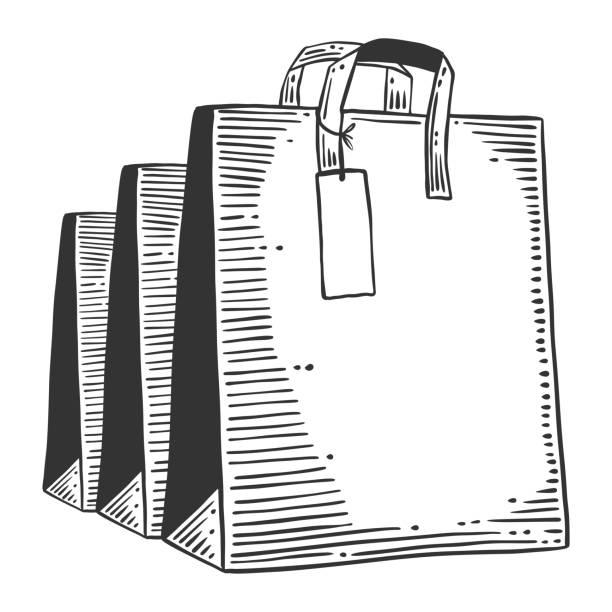 Papieren tas voor winkelen of presenteert. Vector concept in Doodle en sketch stijl. Hand getekende illustratie voor het afdrukken op T-shirts, ansichtkaarten.vectorkunst illustratie