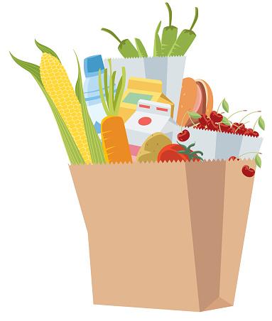 Paper bag full of grocery