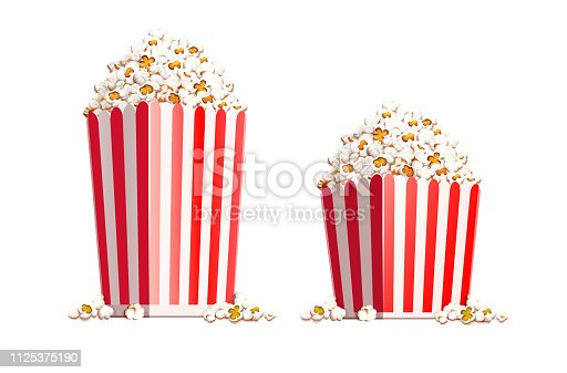 Paper bag full of popcorn isolated on white background. Transparent objects used for shadows and lights drawing. Eps10 vector illustration.