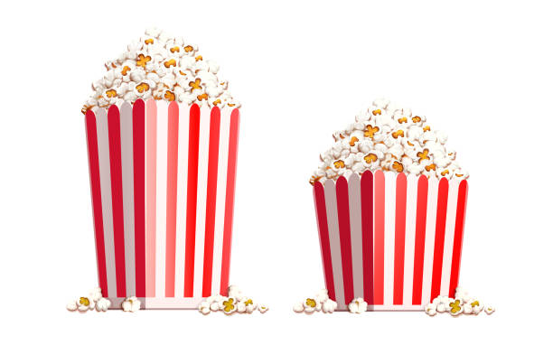 Paper bag full of popcorn. Vector illustration. Paper bag full of popcorn isolated on white background. Transparent objects used for shadows and lights drawing. Eps10 vector illustration. popcorn stock illustrations