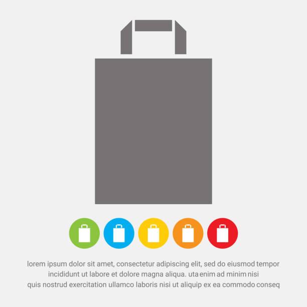 paper bag icon - torba na zakupy stock illustrations