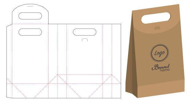 paper bag packaging die-cut and 3d bag mockup vector art illustration