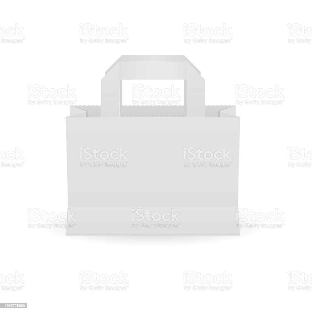 paper bag template empty shopping paquette mockup stock vector art