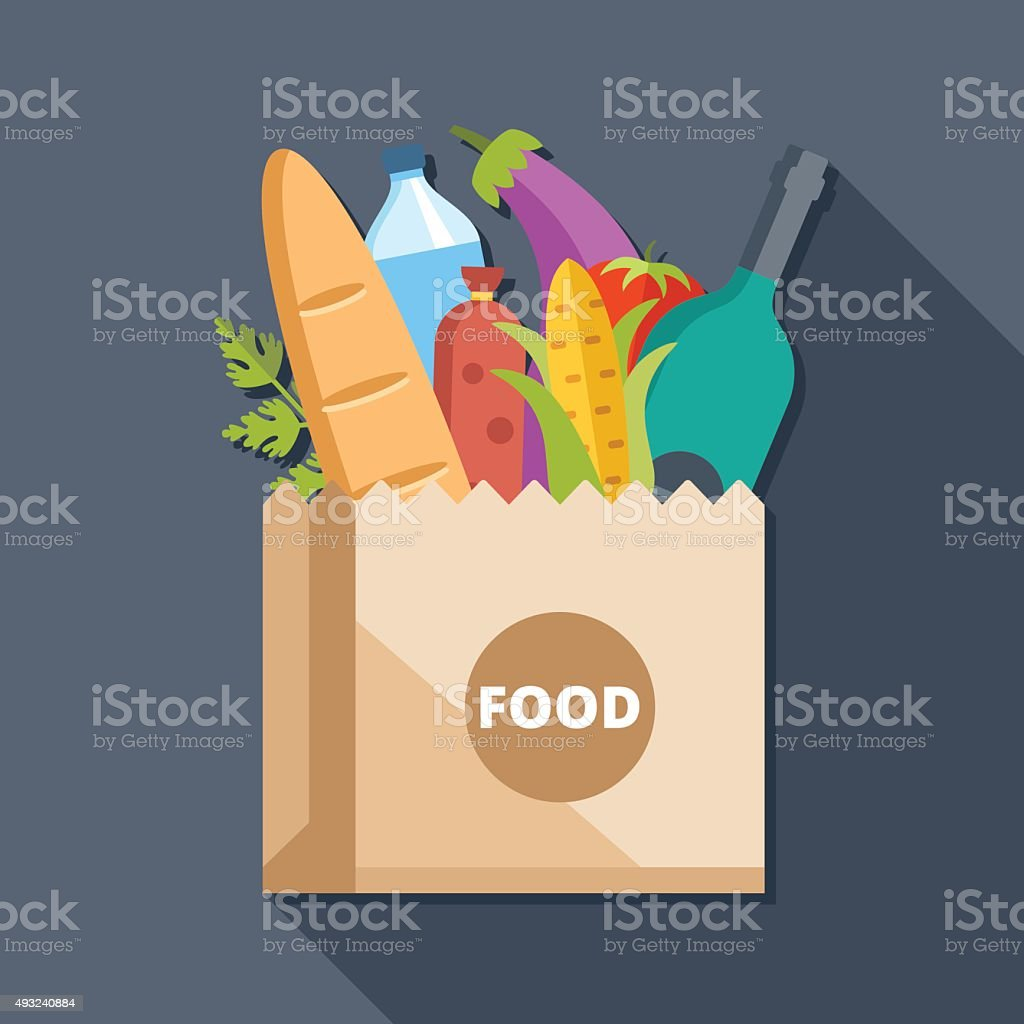 Paper bag with food flat illustration concept vector art illustration