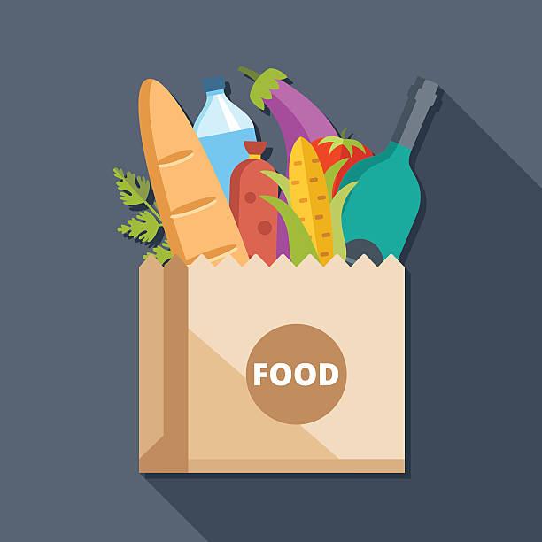 illustrazioni stock, clip art, cartoni animati e icone di tendenza di sacchetto di carta con il cibo piatto illustrazione concetto - prodotti supermercato