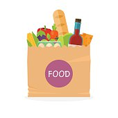 Paper bag with foods. Healthy organic fresh and natural food.