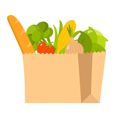 paper bag with fresh organic healthy food