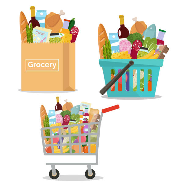Paper bag with grocery. Paper package full of fresh products from grocery store. Shopping basket and cart with grocery Vector illustration. Flat design. grocery store stock illustrations