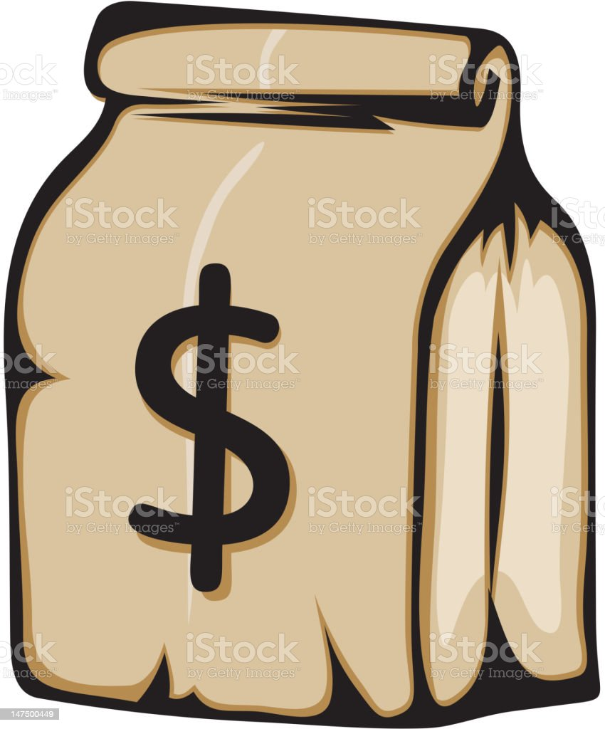 Paper bag with money royalty-free stock vector art