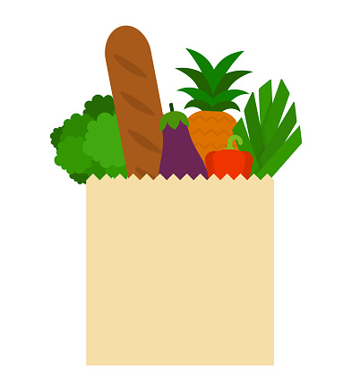 Paper bag with products flat icon vector isolated