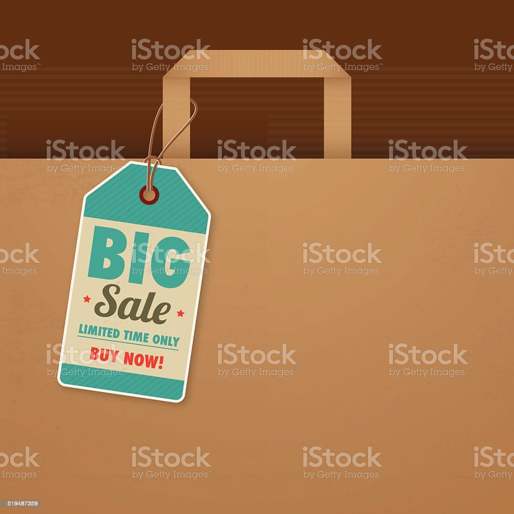 Paper bag with sale tag vector art illustration