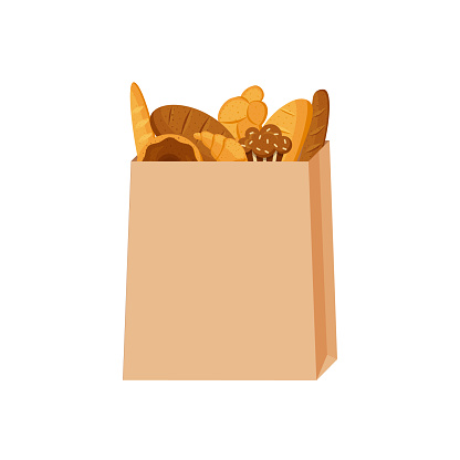 Paper bag with various baked goods. Vector Illustration in flat style.