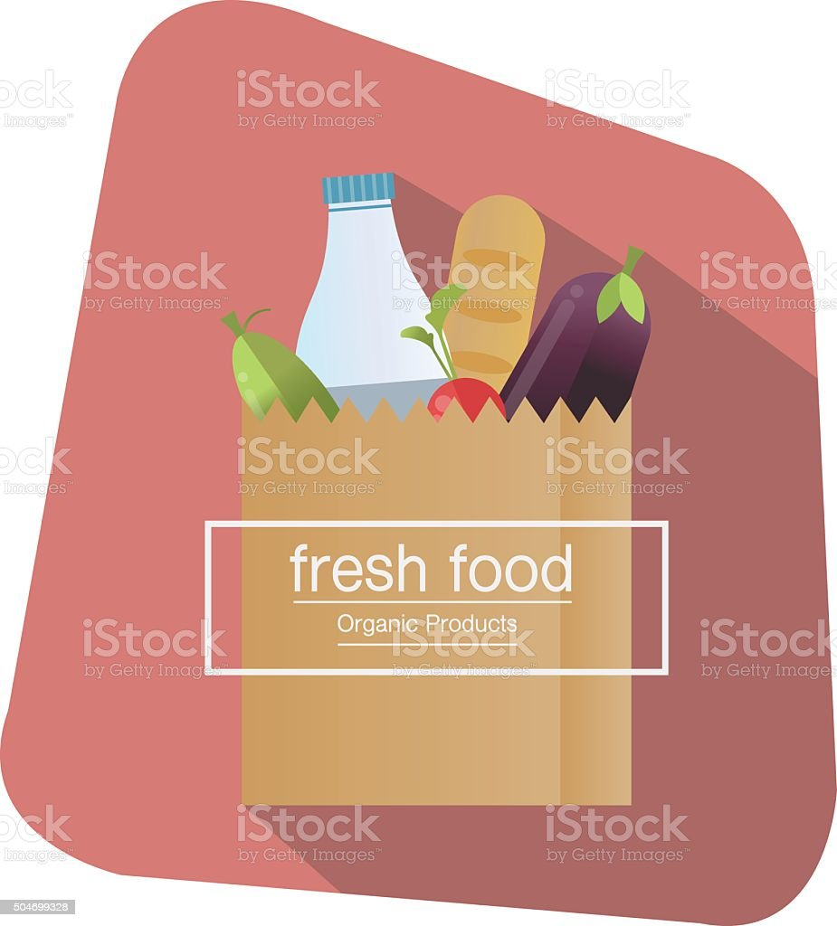 Paper bag,package with food and drink products . vector art illustration