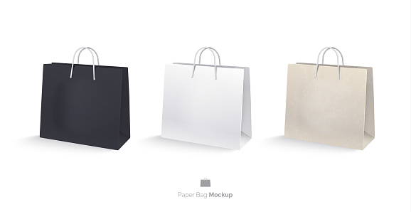 Paper bags, set, mocap. Shopping bags Isolated on white background. A white bag, a black bag, a bag of kraft paper. Realistic vector illustration. 3D