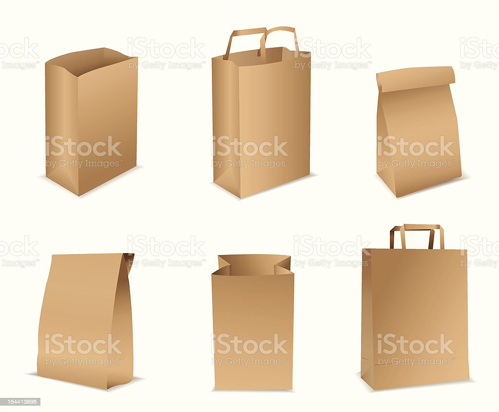 paper bags vector art illustration