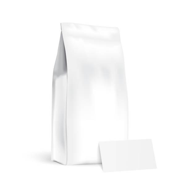 papiertüten mit visitenkarte - vakuumverpackung stock-grafiken, -clipart, -cartoons und -symbole