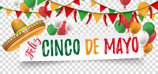 Paper Banner Buntings Chili Sombrero Feliz Cinco de Mayo White paper banner with balloons, confetti and jesters cap. Eps 10 vector file. cinco de mayo stock illustrations