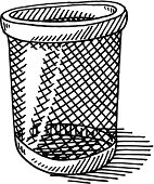 Hand-drawn vector drawing of a Paper Bin. Black-and-White sketch on a transparent background (.eps-file). Included files are EPS (v10) and Hi-Res JPG.