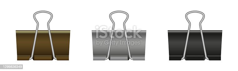 istock Paper binder clip. Black metal clamp for office and school. Paperclips isolated on white background. Realistic clothespin for document. Stationery for business. Vector 1299836349