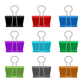 Beautiful vector design illustration of paper binder clip isolated on white background