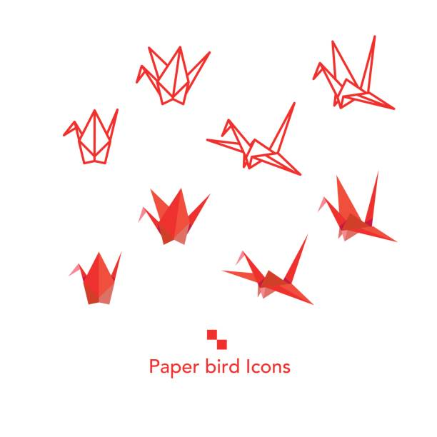 papier vogel icons set - kranich stock-grafiken, -clipart, -cartoons und -symbole