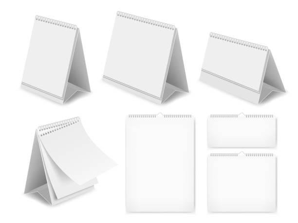 papier leeren schreibtisch kalender set, realistische vektor-illustration - tischkalender stock-grafiken, -clipart, -cartoons und -symbole