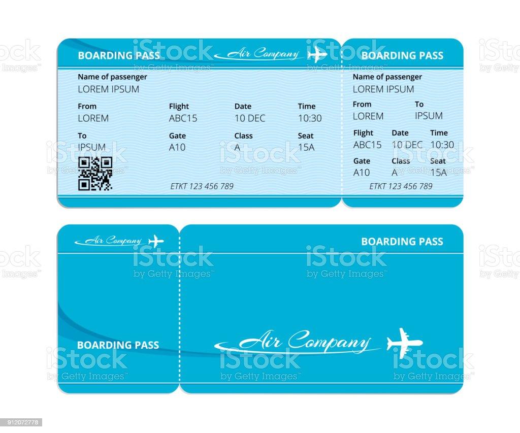 Papel azul de embarque, boleto para el control de los viajeros con datos - ilustración de arte vectorial