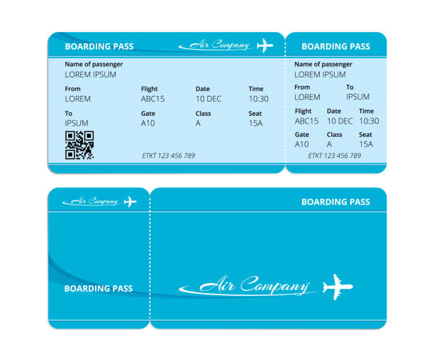 paper blue boarding pass, ticket for checking travelers with data - airplane ticket stock illustrations