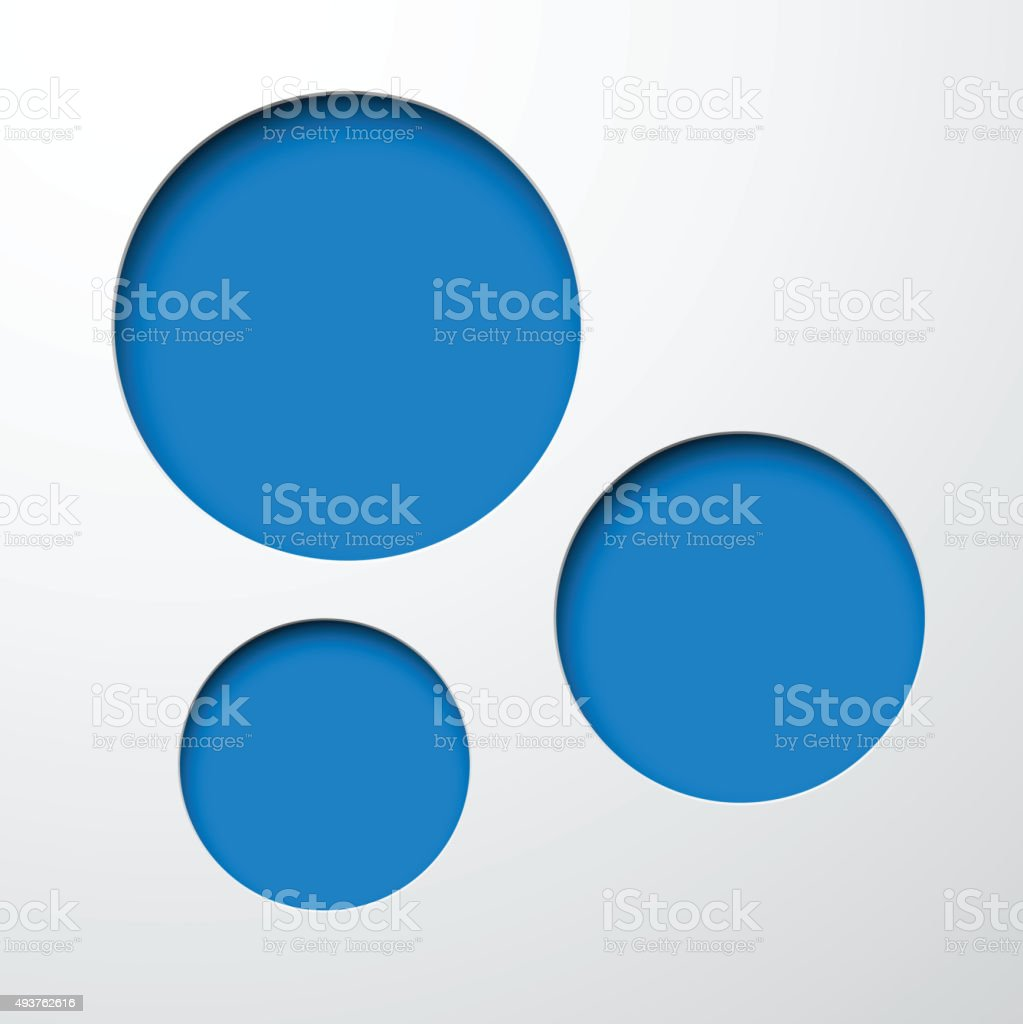 Paper blue round holes vector art illustration