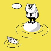 Vector illustration – Paper Boat and Business Bear on an island.