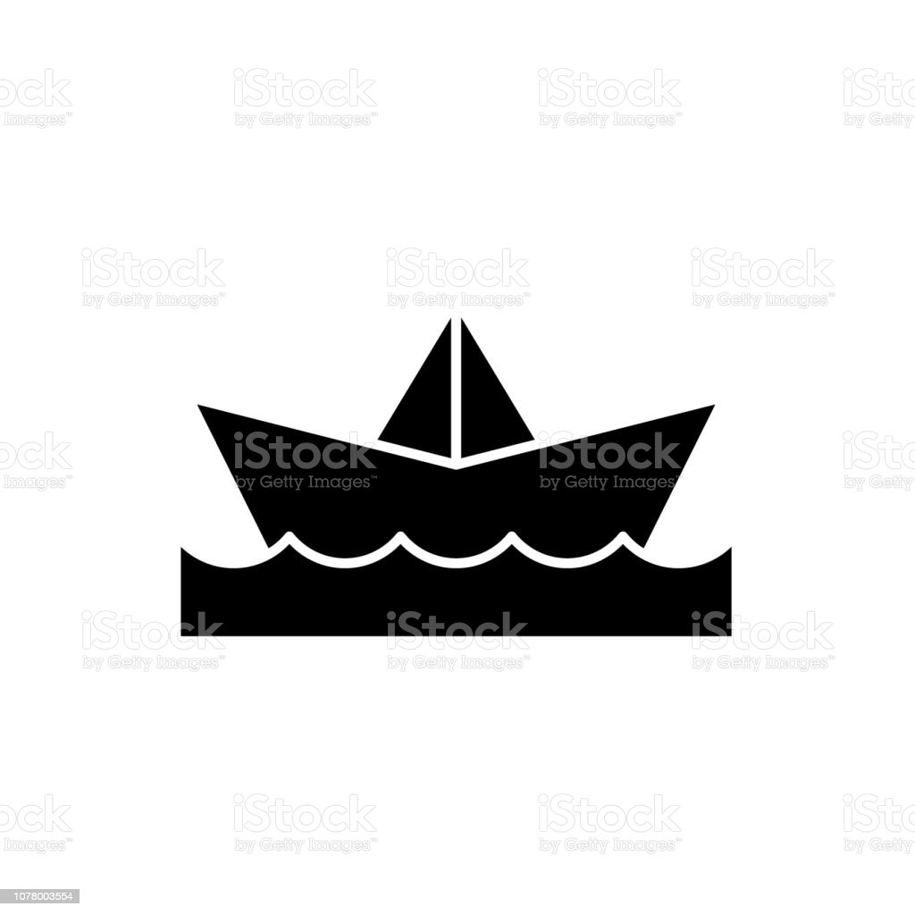 Paper boat black icon, vector sign on isolated background. Paper boat concept symbol, illustration vector art illustration