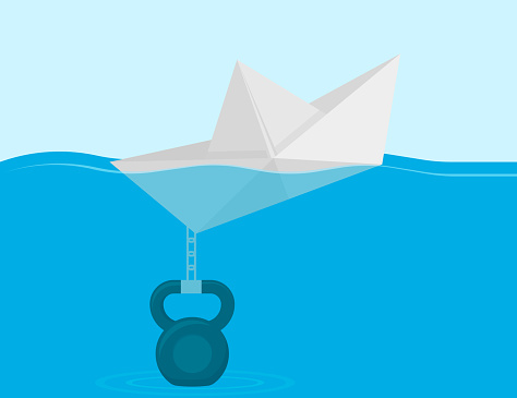 Paper Boat chained to the weight. Vector illustration.