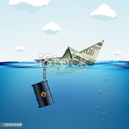 Paper boat made from a dollar currency sinking in water. Anchor as oil barrels. Vector illustration