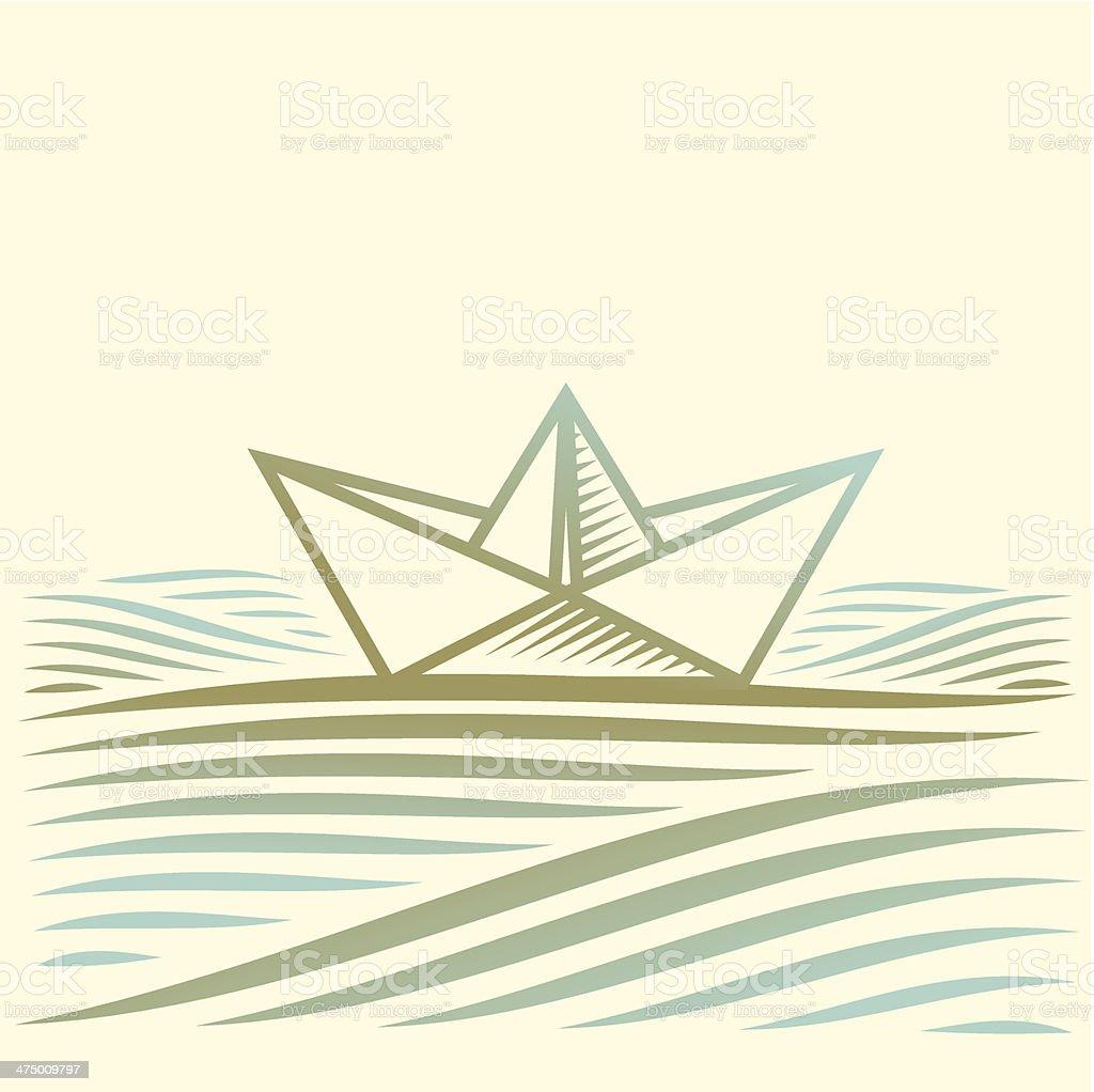Papier Boot Segeln auf dem Wasser mit Wellen – Vektorgrafik