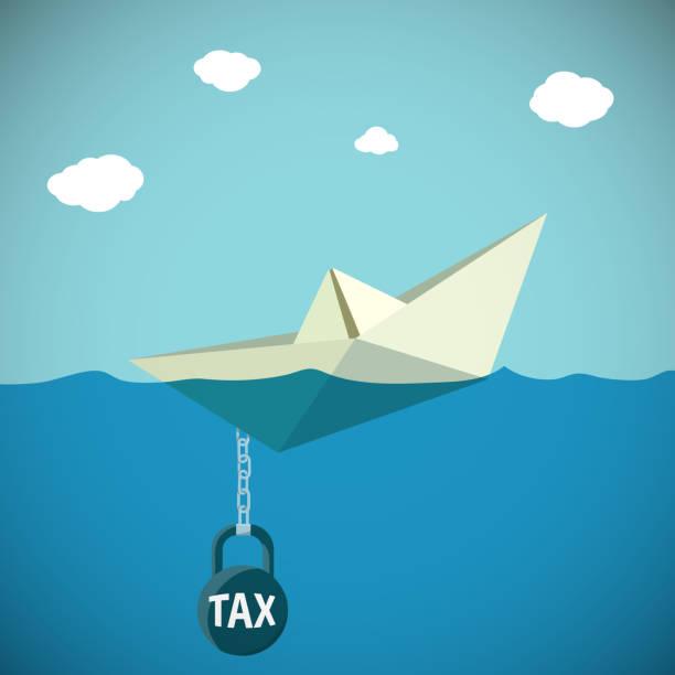 paper boat sinks in water. kettlebell with the inscription tax. - gesunken stock-grafiken, -clipart, -cartoons und -symbole