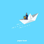 a man in a business suit sails in a paper boat with a steering wheel in his hands, an isometric image