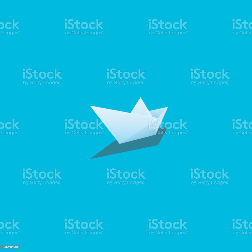Paper Boat Vector Illustration On Bright Cyan Background Symbol Of