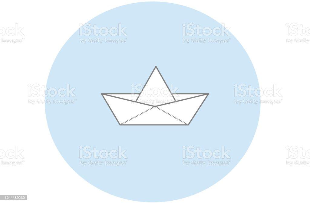 Bateau En Papier Avec Fond Rond Bleu Minimaliste Vector Vecteurs Libres De Droits Et Plus D Images Vectorielles De Art Istock