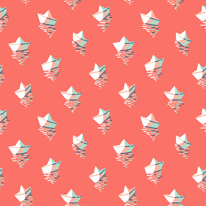 Paper boats on red background seamless vector pattern. Hand-drawn origami boats on sunset sea vacation design.