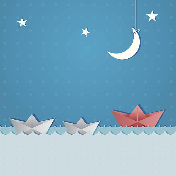 paper boats sailing at night - river paper stock illustrations, clip art, cartoons, & icons