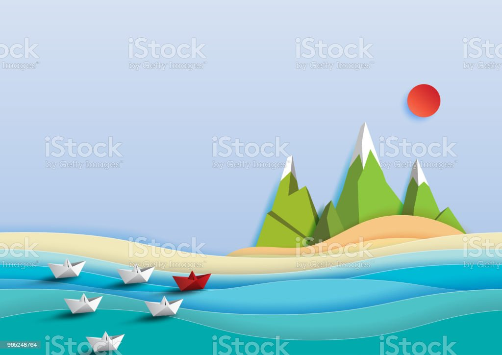 Paper boats sailing on the sea paper art style. paper boats sailing on the sea paper art style - stockowe grafiki wektorowe i więcej obrazów abstrakcja royalty-free