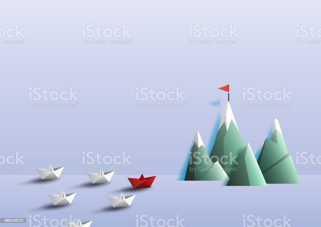 Paper boats teamwork sailing to target. royalty-free paper boats teamwork sailing to target stock vector art & more images of abstract