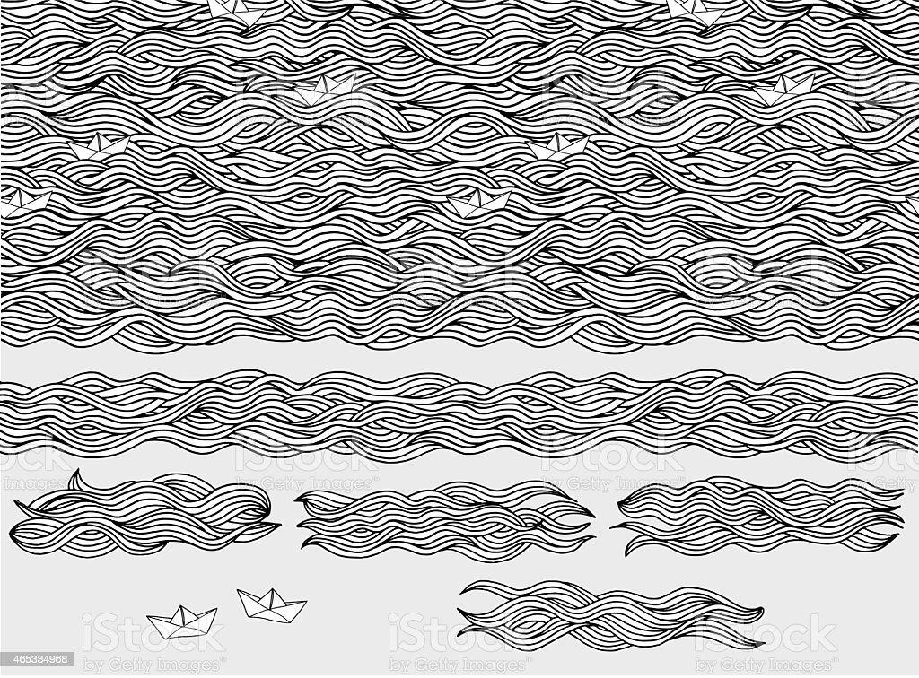 Paper boats vector art illustration