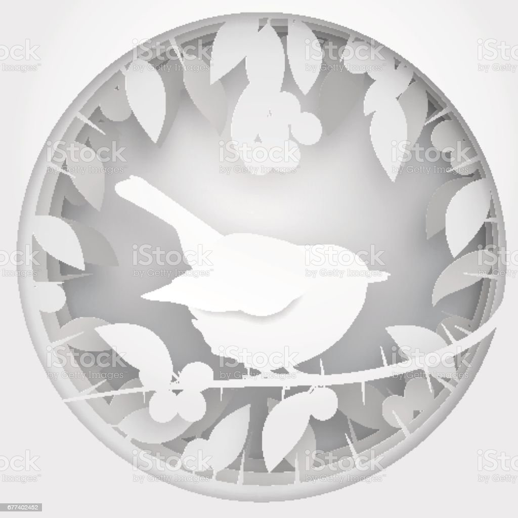 Paper box of shadow to bird on Blackthorn tree branch, vector illustration.