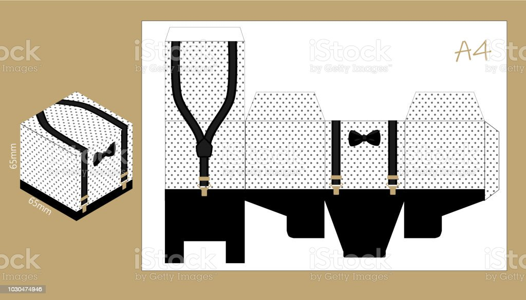 Paper Box With Suspenders And Bow Tie Printable Template For Little Mans Birthday Fathers