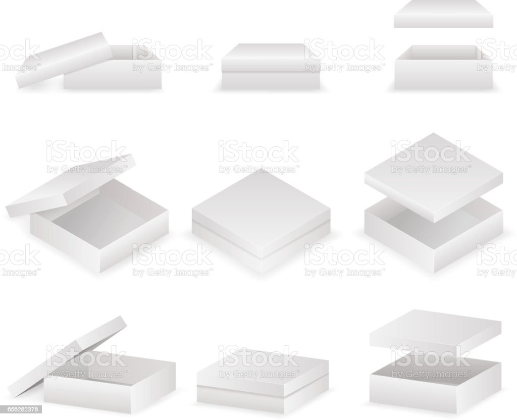 Paper boxes with lids set open and closed pack isolated vector illustration vector art illustration