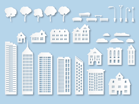 Paper buildings. Origami city houses with windows. Cardboard skyscrapers with lanterns, trees and benches. White paper cut vector set